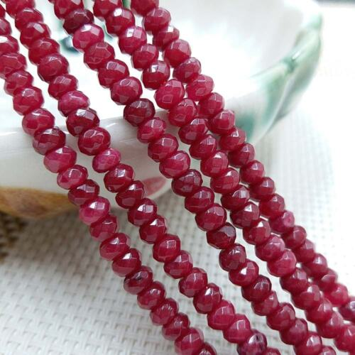 """Natural 4x6mm Brazil Red Ruby Faceted Rondelle Gemstones Loose Beads 15/"""" AAA"""