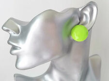 "Gorgeous 1""  large neon green facetted patterned button style stud earrings"