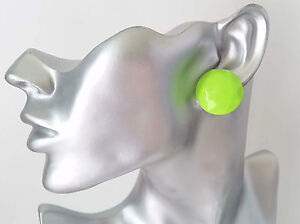 Gorgeous-1-034-large-neon-green-facetted-patterned-button-style-stud-earrings