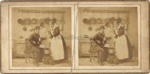 Scena-Da-Genere-Nel-La-Cucina-Foto-Stereo-Vintage-Albumina-Ca-1860
