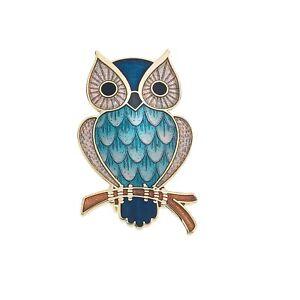Learned Turchese Gufo Spilla Oro Placcato Su Branch Design Nuovo Confezione Regalo Pins & Brooches Fashion Jewelry