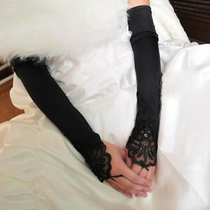 USA-Women-Long-Wedding-Evening-Party-Bridal-Lace-Satin-Bride-Fingerless-Gloves