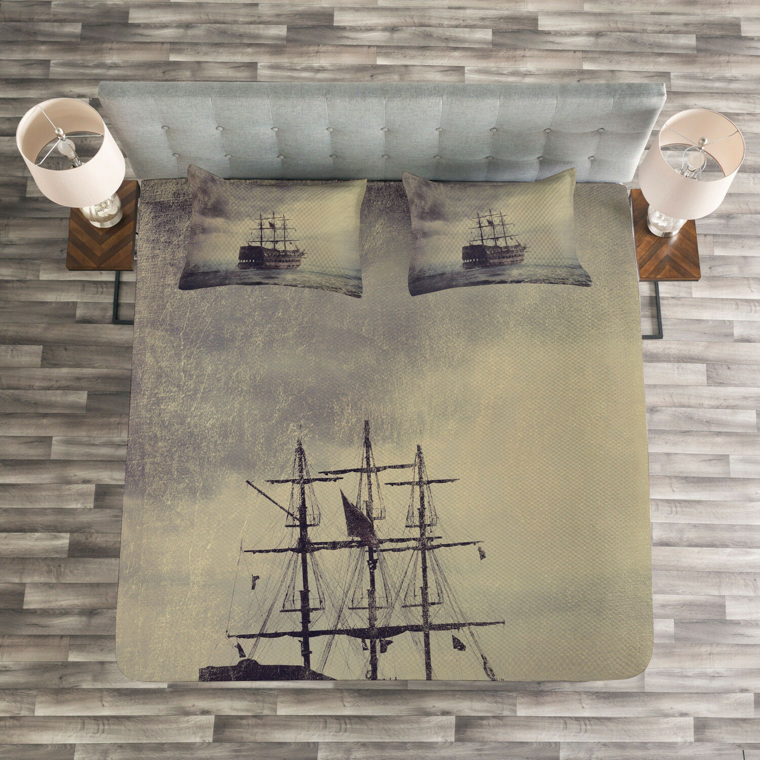 Nautical Quilted Bedspread & Pillow Shams Set, Old Pirate Ship in Sea Print