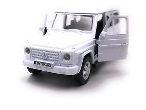 Mercedes-Benz-G-clase-maqueta-de-coche-con-matricula-de-deseos-Weiss-escala-1-34