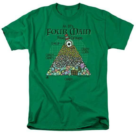 Elf The Movie An Elf's Four Main Food Groups Adult T Shirt