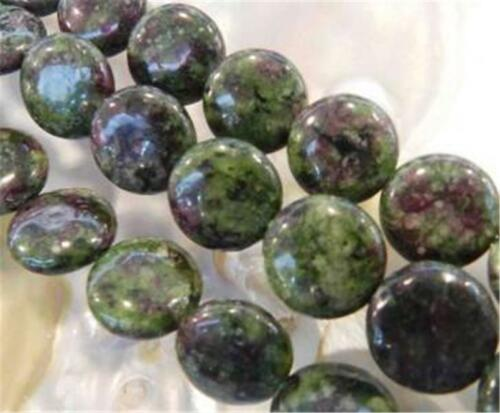 """12mm Red Green Ruby Zoisite Coin-shaped Loose Beads 15/"""" Strand ##ZY511"""