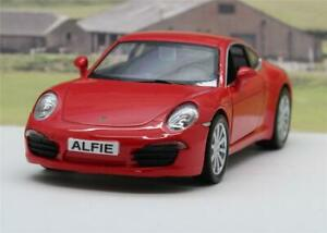 PERSONALISED PLATES Red Porsche 911 Diecast Model Boys Dad Toy Car Present Boxd