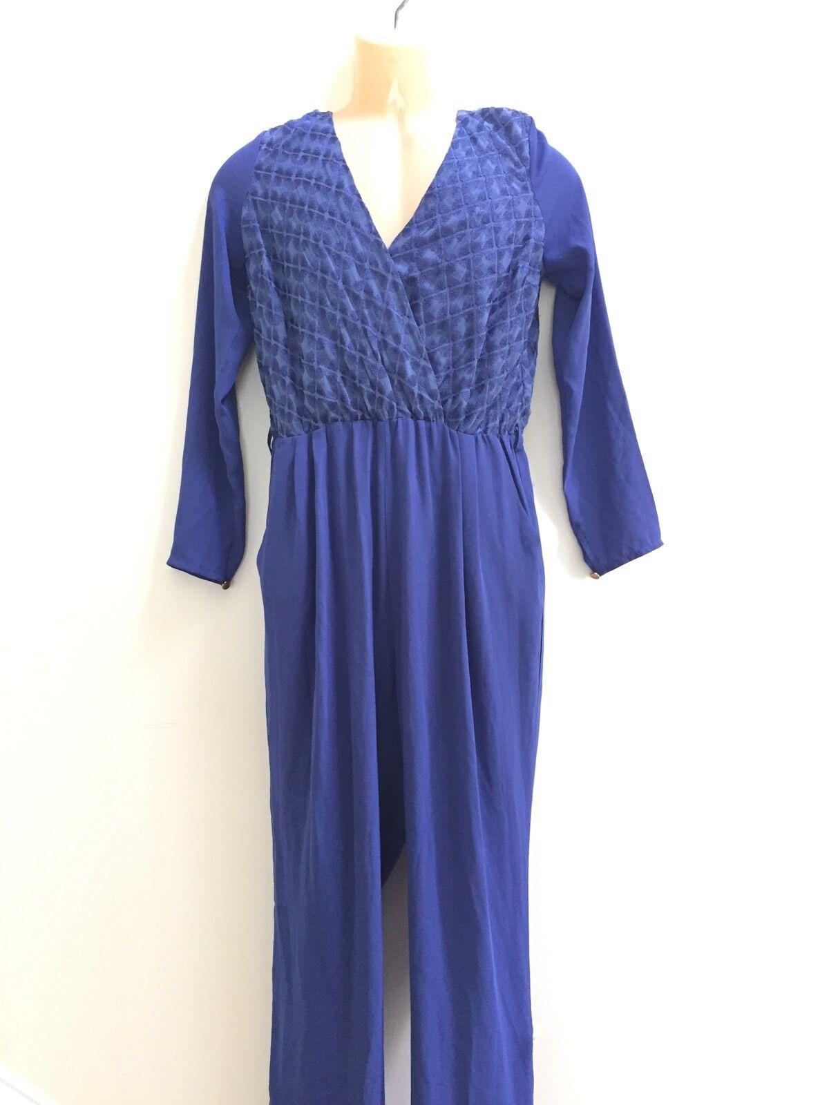 ABS by Allen Schwartz Women's bluee Shawl Collar Wrap Jumpsuit Size 6 RP  280