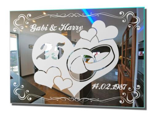 Motif Miroir Argent Mariage 2 Cadeau de Mariage Décoration Murale wedding love