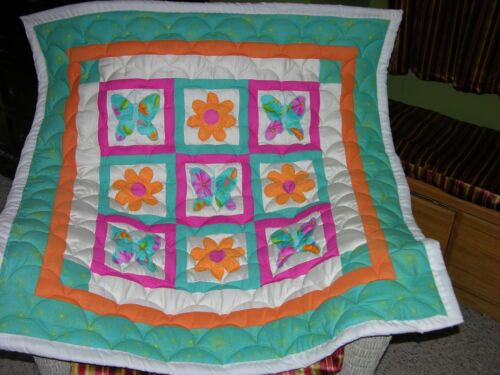 Butterflies And Flowers Applique Baby Quilt Double Batting