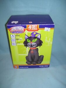 RARE-4-ft-tall-BLACK-CAT-WIZARD-Airblown-Inflatable-by-Gemmy-A-310