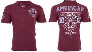 e3c7f7e9 AMERICAN FIGHTER Mens POLO T-Shirt SILVER LAKE ARTISAN Biker Gym MMA ...