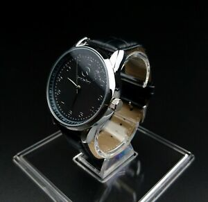 Mercedes-Benz-Mens-Watch-Stainless-Steel-Black-Leather-Strap-Black-Face-UK