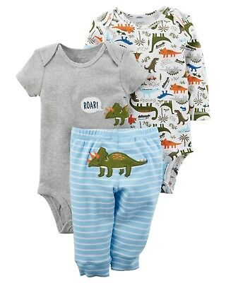 Cool Dinosaur NWT 2 bodysuits 1 pant Carter/'s Infant Boys 3-Piece Set