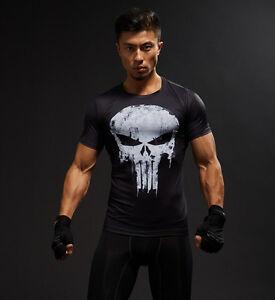 Men Tee T-Shirt Tights Tops 3D Printed Punisher Skull Short Sleeve Gym Fitness