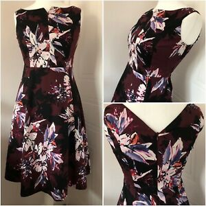 Per-Una-Burgundy-Floral-Sleeveless-Cotton-Fit-amp-Flare-Dress-Fully-Lined-Size-10