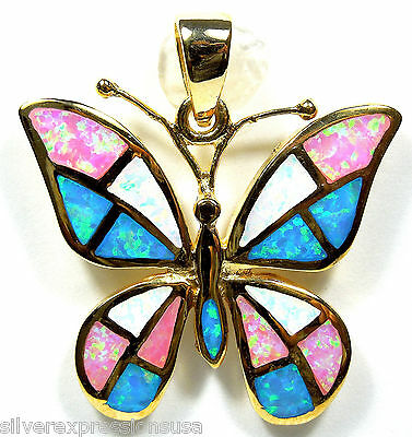 18kt Gold over 925 Sterling Silver Multicolor Fire Opal Inlay Butterfly Pendant