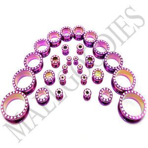 V048-Surgical-Steel-Screw-on-fit-Hot-Pink-Color-CZ-Flesh-Tunnels-Ear-Plugs