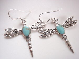 Blue-Green-Turquoise-Dragonfly-Filigree-925-Sterling-Silver-Dangle-Earrings