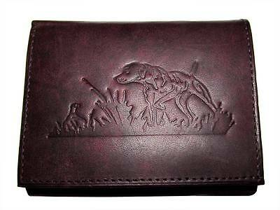 Bird Dog Embossed Leather Wallet Tri-fold Black Mens by Upstream Images