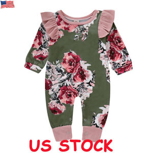 3b10b0263ed US Newborn Baby Girl Floral Clothes Long Sleeve Jumpsuit Romper ...