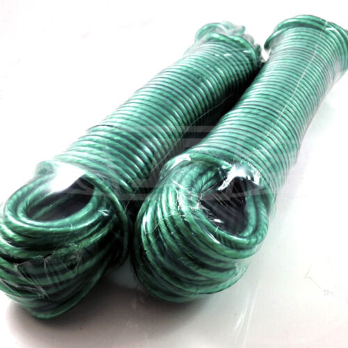 GREEN ORIENT 20 METER CLOTHES WASHING LINE 3 STRAND PVC COVER WEATHERPROOF