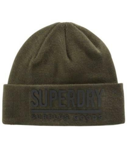 a288053facd90 Superdry Army Olive Green  Black Surplus Goods Logo Turn up Beanie Hat Cap  Cuff