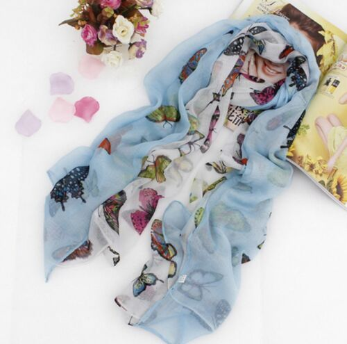 CB Colourful Butterfly Lady Women Soft Scarf Scarves Shawl Wrap Headscarf Stole