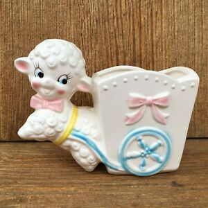 Adorable Vintage Baby Lamb & Cart Planter Ceramic Made in Japan Great 4 Easter