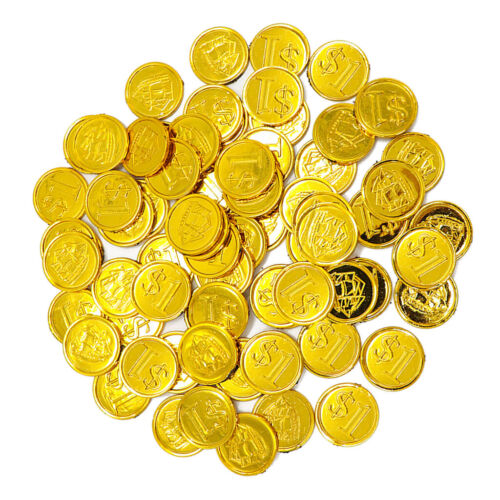 100 Pcs Plastic Gold Coins $1 Pirate Treasure Chest Play Money Party Favors