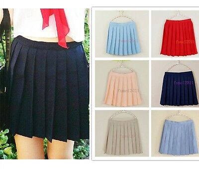 Japan High School Girls Solid Pleated Mini Skirt Sailor Lolita Cheerleader Dress