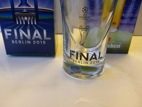 2 pc Heineken glasses UEFA Champions League Final 2015 Berlin beer soccer rare