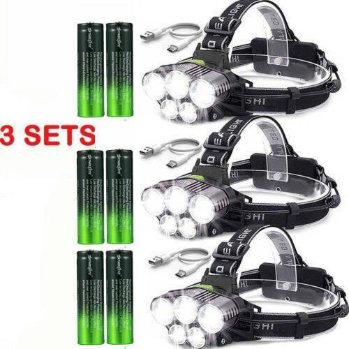 Details about  /5 x  LED Rechargeable Headlight  USA 160000LM  Headlamp Flashlight Head Torch