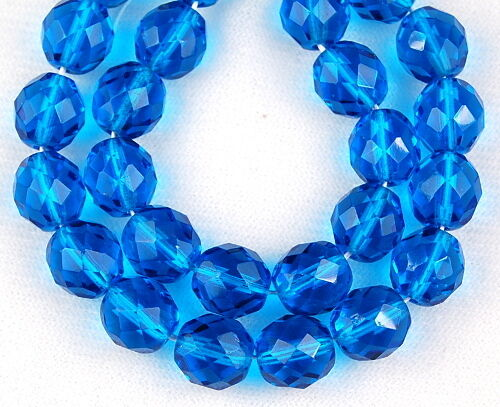 25 Czech Round Faceted Dark Aqua Blue Loose Jewelry Craft Glass Beads 10mm