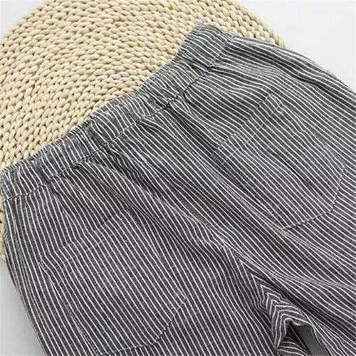 Lady Straight Striped Elastic Waist Ladies Legging Pant Loose Pants FI