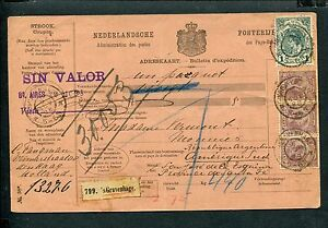 KRONINGSGULDEN-en-H-Haar-nvph-49-42-3x-PAKKETKAART-1898-naar-ARGENTINIE