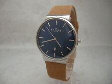 Authentic Skagen Ancher SKW6103 Genuine Leather Tan Bracelet Men's Watch