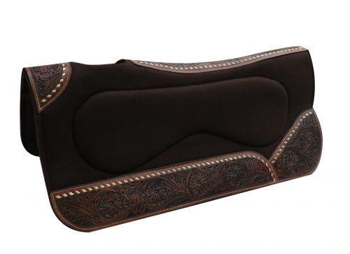 Showman Brown Felt Built Up SADDLE Pad 31  x 32  x 1  Floral Tooled Wear Leather