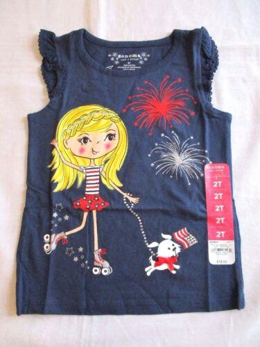 Sonoma Blue sleeveless shirt Girl Dog 4th of July 2T New