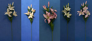 "Six Quality 27"" Choose Lily Artificial Faux Silk Flower Spray"