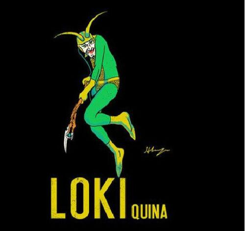 LOKI QUINA Maurin Avengers Thor TEEFURY Ript T-shirt Womens Leonetto Cappiello