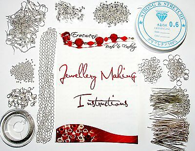 Large Jewellery Making Starter kit~Wire,Findings,Chain, Crimp Beads