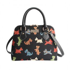 Signare-Damen-Tasche-Scottie-Scotch-Terrier-Hunde-Gobelin-Schultertasche-Bag