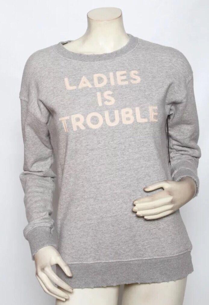Mother Denim Grey Sweatshirt LADIES IS TROUBLE Distressed Jumper S Small BNWT