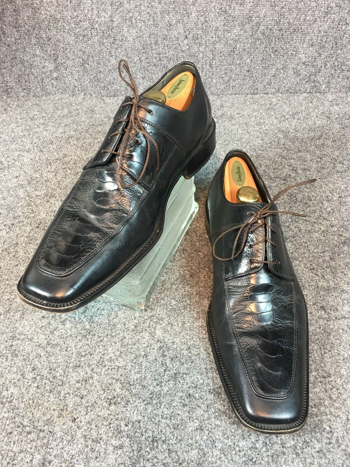 David Eden  Regis Noir Autruche derby chaussures de Bonnes Semelles 12D