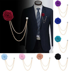Rose-Flower-Lapel-Pin-Men-Cloth-Brooch-Pin-Wedding-Boutonniere-Suit-Jewelry-New