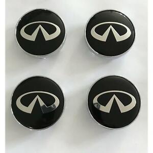 4x-60mm-Infiniti-noir-argent-jantes-couvercle-chapeaux-enjoliveur-roue-capuchon