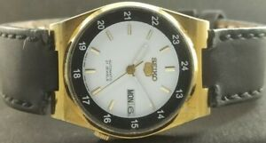 """VINTAGE SEIKO 5 AUTOMATIC JAPAN MEN""""S DAY/DATE GP WATCH 452-a226853-9"""