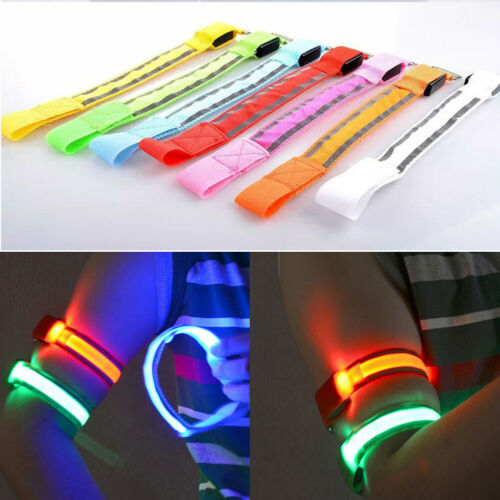Flashing LED Light Arm Armband Strap Safety Belt For Night Running Cycling