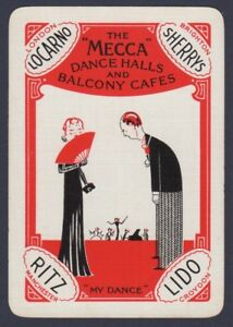 Playing-Cards-Single-Card-Old-Wide-MECCA-DANCE-HALLS-Jazz-Band-Advertising-Art-2